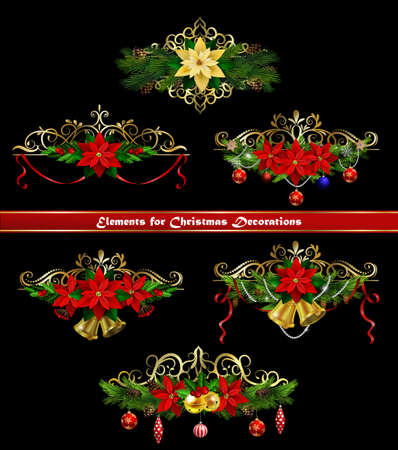 Christmas border elements for your designs template. Ilustração