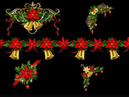 Christmas border elements for your designs. Illustration