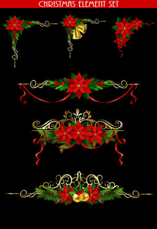 Christmas decoration collection with evergreen trees holly and metal swirl forging Vector. Illustration