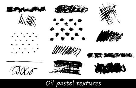 Set of oil pastel brush strokes and design elements. Illustration