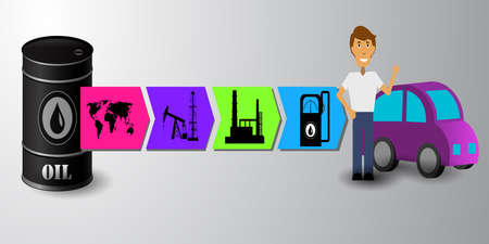 Industrial concept info graphic design,oil production vector