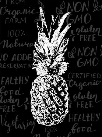 Vector Single Sketch Pineapple isolated on handwritten background with healthy food words