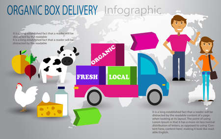 Organic food box delivery infographic concept vector illustration.