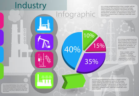 Industry infographics production process oil chemical and other vector