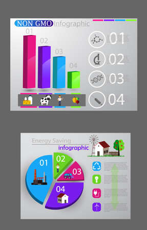 Eco info-graphic set. Healthy food and smart city concepts. Vector illustration.