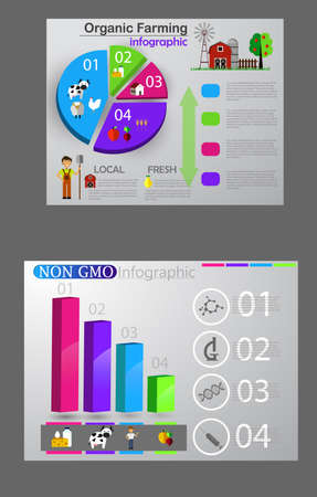 Food infographic element. Healthy food concept set Vector illustration