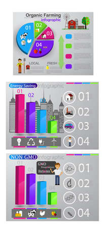 Eco info graphic set Healthy food and smart city concepts Vector illustration