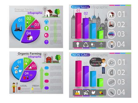 Eco infographic report graph set Ilustração