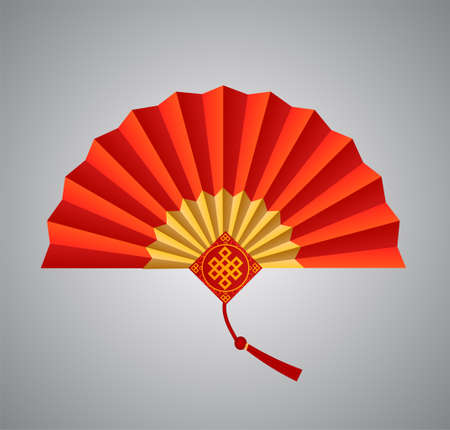 Red Chinese folding fan on white background.Vector illustration