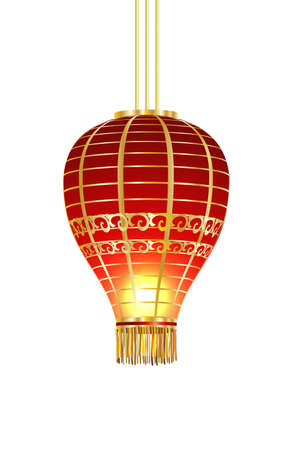 Red Chinese traditional paper lantern Ilustração