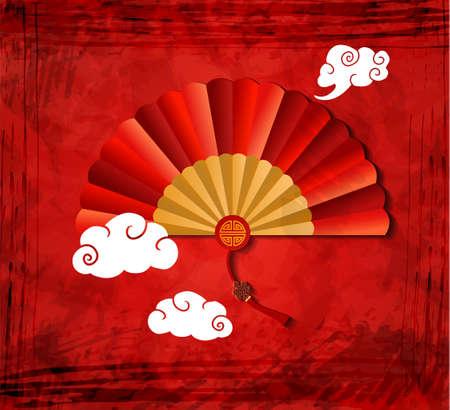 雲ベクトルイラストと赤いグランジの背景に赤い中国の折りたたみファン