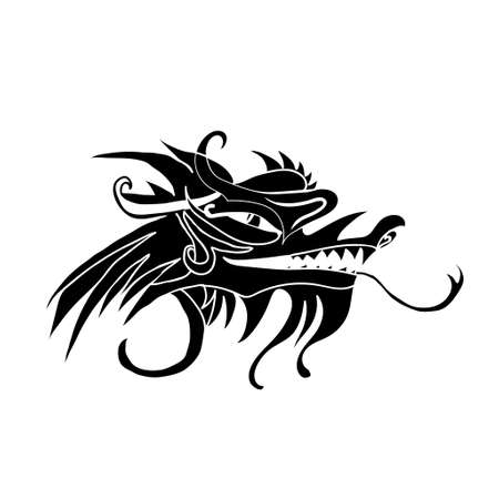 Evil dragon head. Artwork inspired with traditional Chinese and Japanese dragon arts.