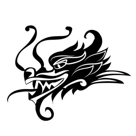 Kwaad drakenhoofd. Kunstwerk geïnspireerd op traditionele Chinese en Japanse drakenkunst. Stockfoto - 93487058