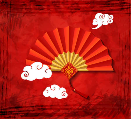 Red Chinese folding fan on red grange background. with clouds. Vector illustration. Иллюстрация