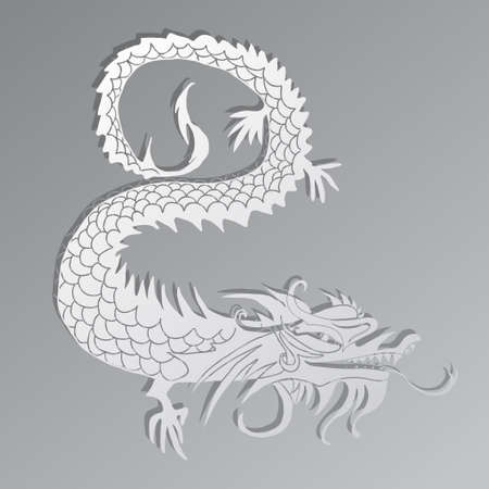 paper cut out of a Dragon china zodiac symbols vector