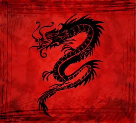 Dragon china zodiac symbol on grange background vector