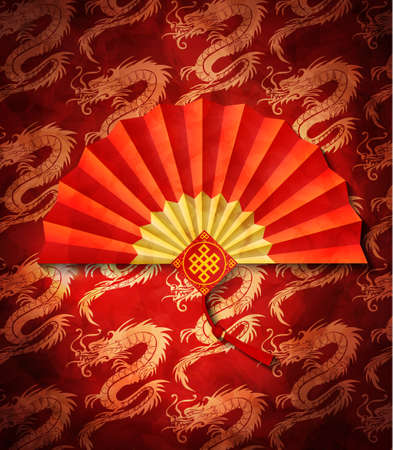 Seamless red dragons with fan pattern