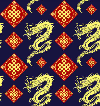 seamless dragons pattern illustration.
