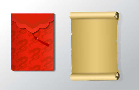 Red envelope and blank scroll set for Chinese New Year with dragons isolated on white Ilustração