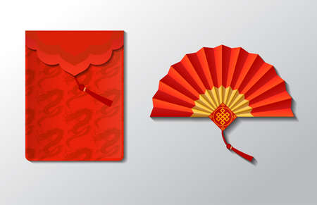 Red envelope and fan set for Chinese New Year with dragons isolated on white background.