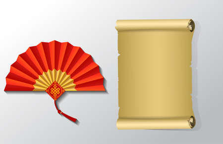 Red Chinese folding fan and paper scroll set on white background.