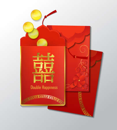 Red Envelopes with coins The Chinese word on the envelope means Double Happiness Vector