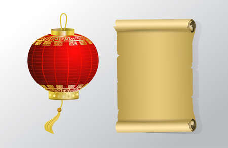 Red Chinese traditional paper lantern and paper scroll objects set Isolated on white background.
