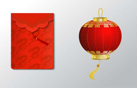 Red envelope and paper lantern object set for Chinese New Year with dragons isolated on white
