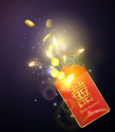 Envelope vermelho com explosão de moedas A palavra chinesa no envelope significa Double Happiness Vector
