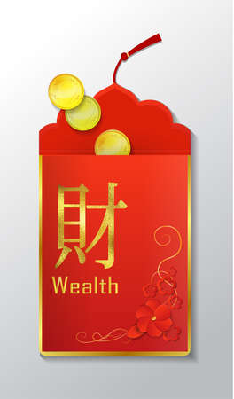 Open Red Envelope with coins The Chinese word on the envelope means Wealth Vector