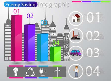 Smart energy use infographic concept renewable energy smart city Vector Illustration