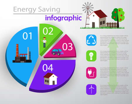 smart energy use infographic concept Illustration