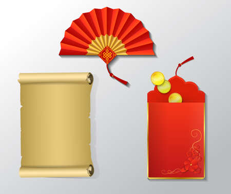 Red envelope and fan paper scroll set for Chinese New Year with dragons isolated on white Illustration