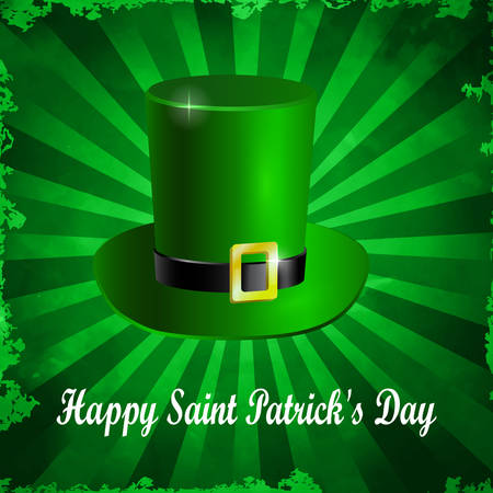 Green St. Patrick s Day hat isolated on old styled ray backround. Vector illustration Illustration