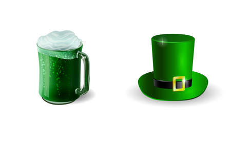 Set of beer mug and leprechaun green hat elements for St Patrick s Day isolated on white background