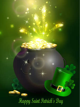 St. Patrick s Day symbol green pot full of gold coins and fireworks Vector illustration Stock Photo