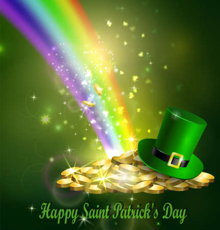 St. Patrick s Day symbol green hat and gold Illusztráció