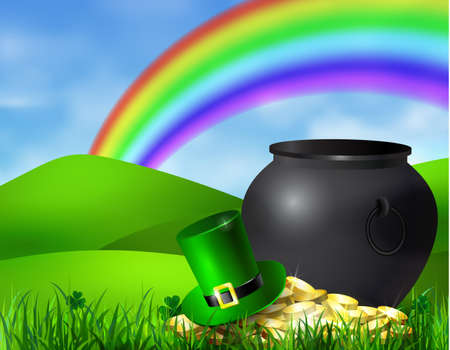 St. Patricks Day symbol green pot