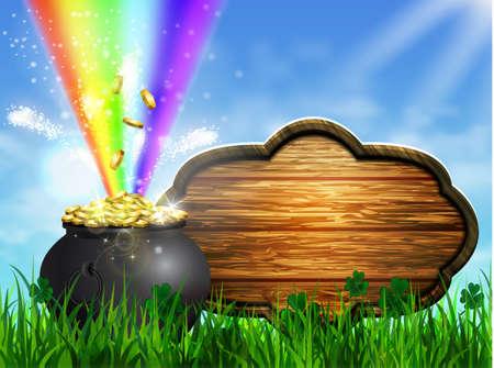 St. Patrick's Day symbol green pot Illustration