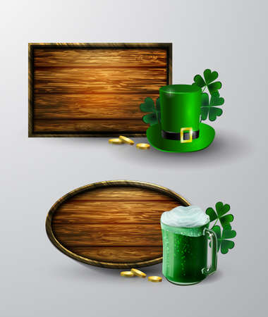 Wooden blank signage with green hat ang beer in green mug design.