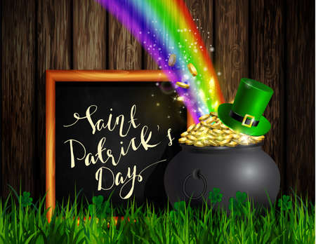 St. Patrick s Day symbol green pot full of gold coins and rainbow with chalk board in frame with handwritten greetings Vector illustration