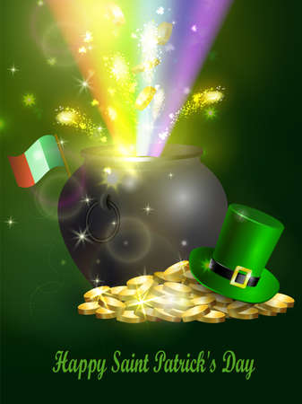 St. Patrick s Day symbol with green hat and  pot illustration.