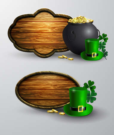 St. Patrick s Day symbol board with hat and pot of gold