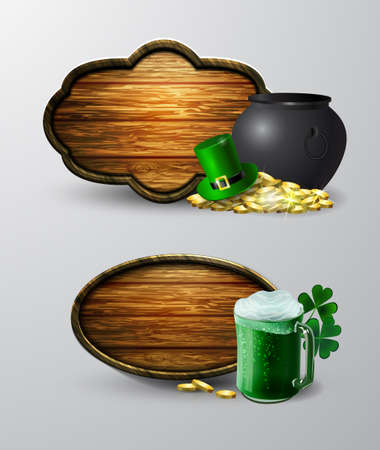 Set of St. Patrick s Day symbol board, wooden note,  with green mug and cauldron.