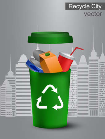 Bacs de recyclage avec vue sur la ville sur fond gris Banque d'images - 96283397