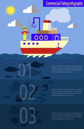 Cool vector flat design fishing boat with crew 向量圖像