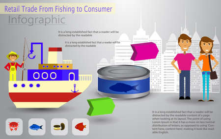 Cool vector flat design fishing boat with crew.