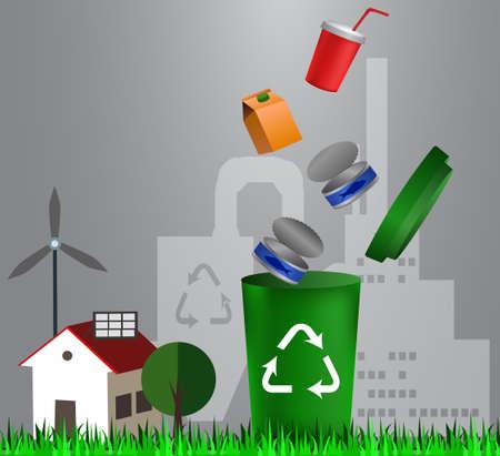 Recyclage des poubelles illustration Banque d'images - 96201894