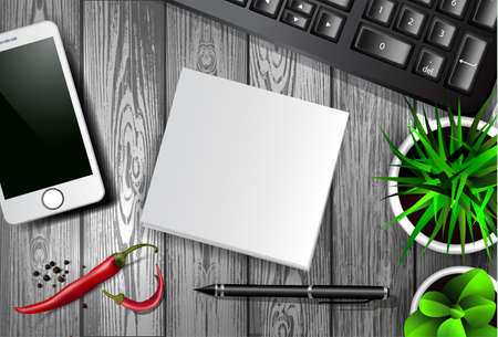 Modern work space vector set with stationery.