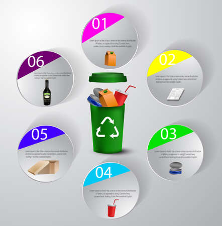 Recycling bins with imfographic icons illustration Banque d'images - 96441874